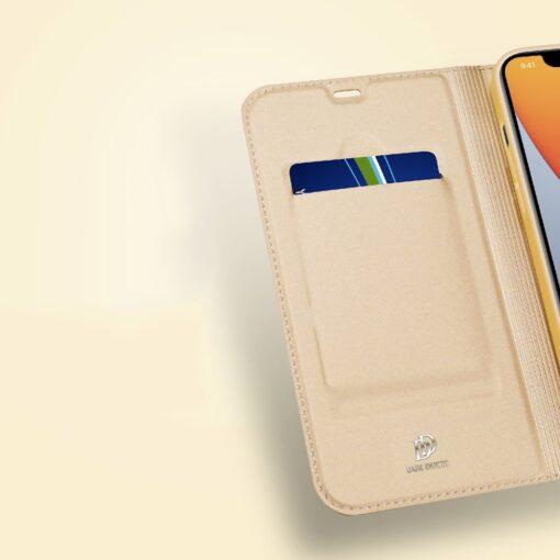 iPhone 12 Pro Max kunstnahast kaaned DUX DUCIS Skin Pro Bookcase kuldne 13