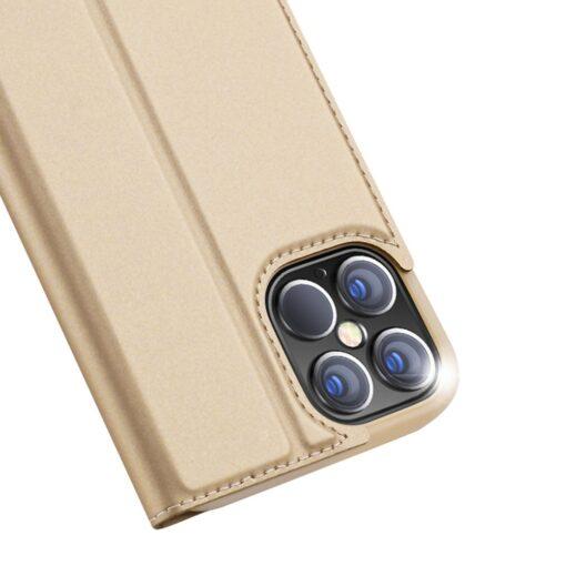 iPhone 12 Pro Max kunstnahast kaaned DUX DUCIS Skin Pro Bookcase kuldne 2