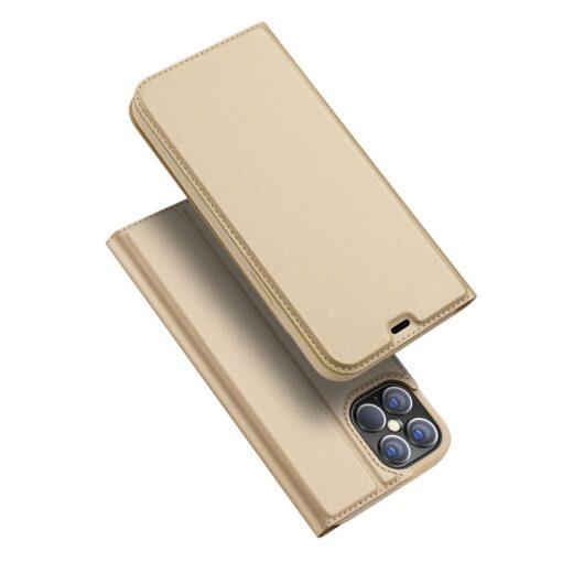 iPhone 12 Pro Max kunstnahast kaaned DUX DUCIS Skin Pro Bookcase kuldne