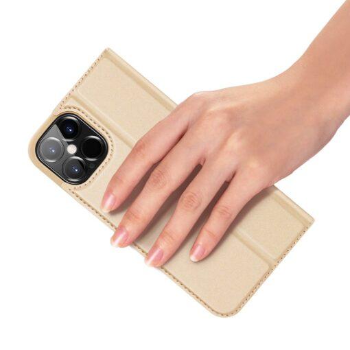 iPhone 12 Pro Max kunstnahast kaaned DUX DUCIS Skin Pro Bookcase kuldne 7