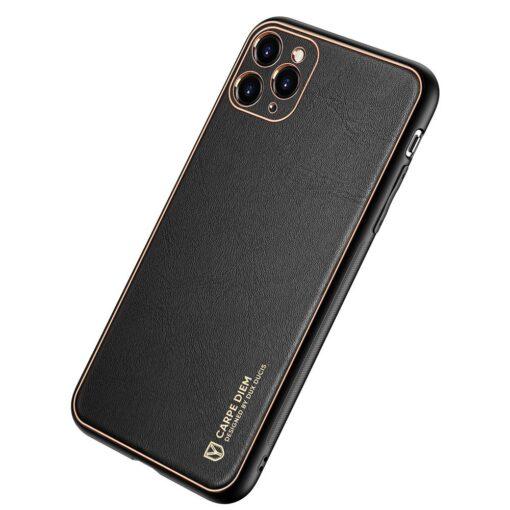 iPhone 12 Pro Max umbris Dux Ducis Yolo elegant kunstnahast ja silikoonist servadega must 1