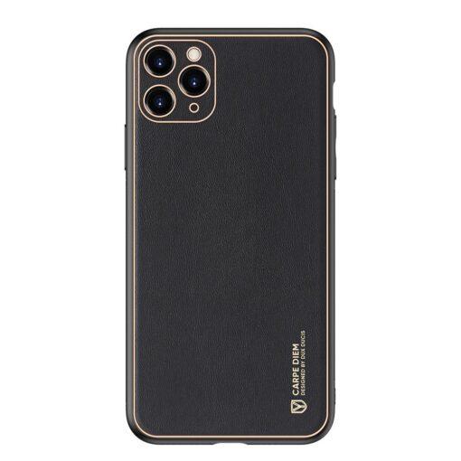 iPhone 12 Pro Max umbris Dux Ducis Yolo elegant kunstnahast ja silikoonist servadega must 10