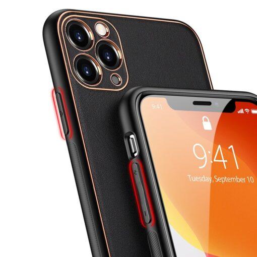 iPhone 12 Pro Max umbris Dux Ducis Yolo elegant kunstnahast ja silikoonist servadega must 3