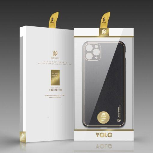 iPhone 12 Pro Max umbris Dux Ducis Yolo elegant kunstnahast ja silikoonist servadega must 4