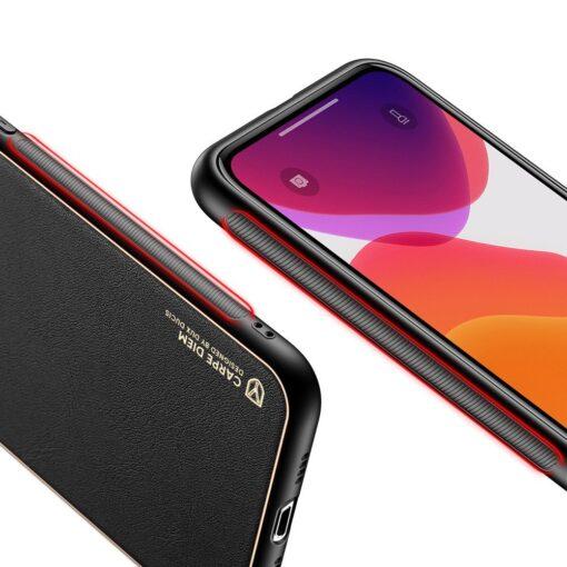 iPhone 12 Pro Max umbris Dux Ducis Yolo elegant kunstnahast ja silikoonist servadega must 5