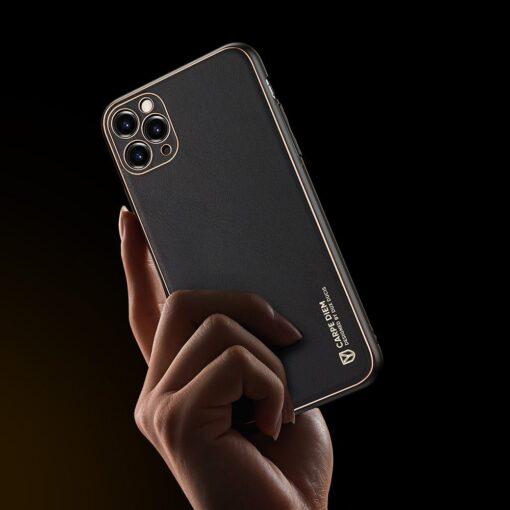 iPhone 12 Pro Max umbris Dux Ducis Yolo elegant kunstnahast ja silikoonist servadega must 6
