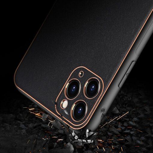 iPhone 12 Pro Max umbris Dux Ducis Yolo elegant kunstnahast ja silikoonist servadega must 7