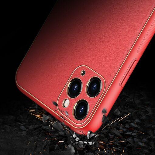 iPhone 12 Pro Max umbris Dux Ducis Yolo elegant kunstnahast ja silikoonist servadega punane 11