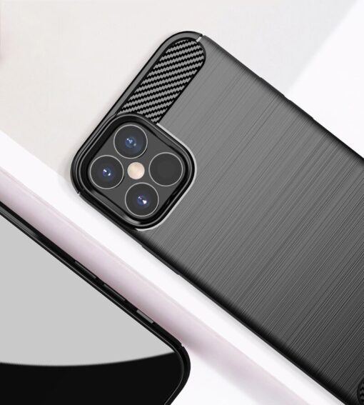iPhone 12 Pro Max umbris silikoonist Carbon must 4