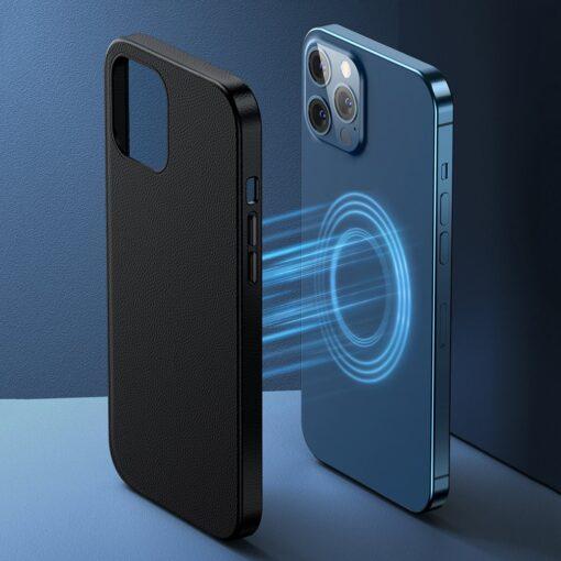 iPhone 12 ja 12 Pro Baseus kunstnahast umbris MagSafe sinine 11