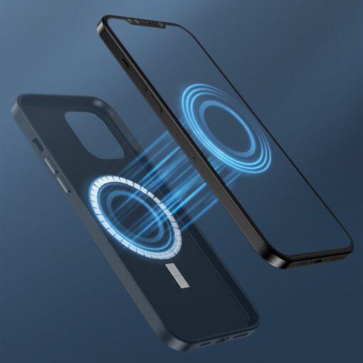 iPhone 12 ja 12 Pro Baseus kunstnahast umbris MagSafe sinine 12