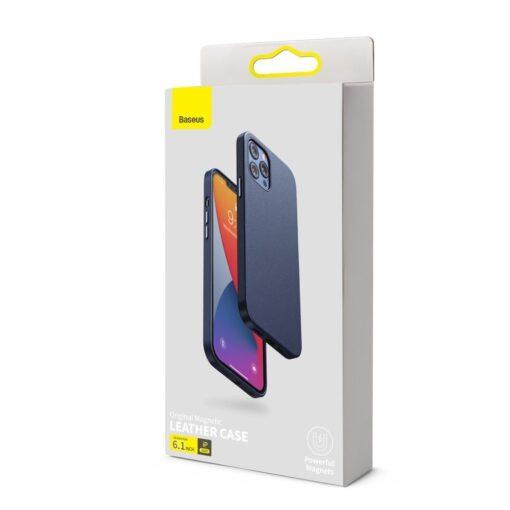 iPhone 12 ja 12 Pro Baseus kunstnahast umbris MagSafe sinine 4