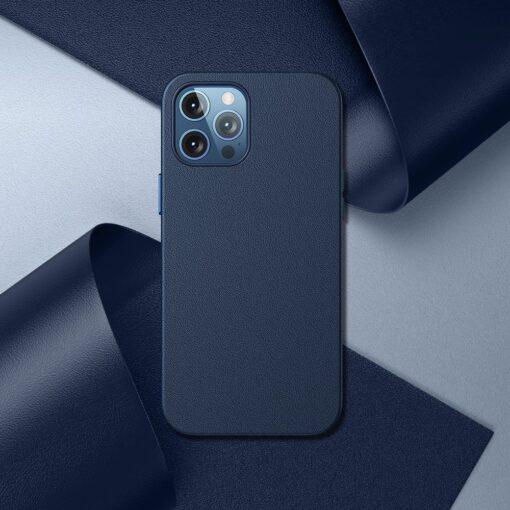 iPhone 12 ja 12 Pro Baseus kunstnahast umbris MagSafe sinine 8