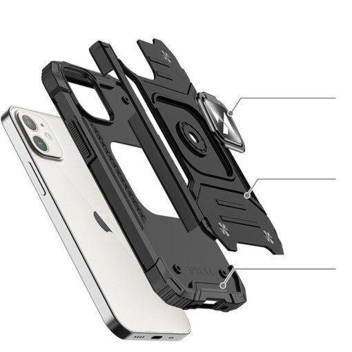 iPhone 12 mini tugev umbris Ring Armor plastikust taguse ja silikoonist nurkadega must 1