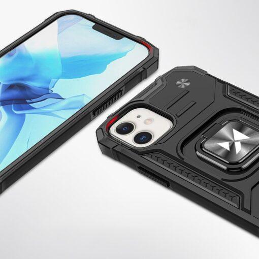 iPhone 12 mini tugev umbris Ring Armor plastikust taguse ja silikoonist nurkadega must 2