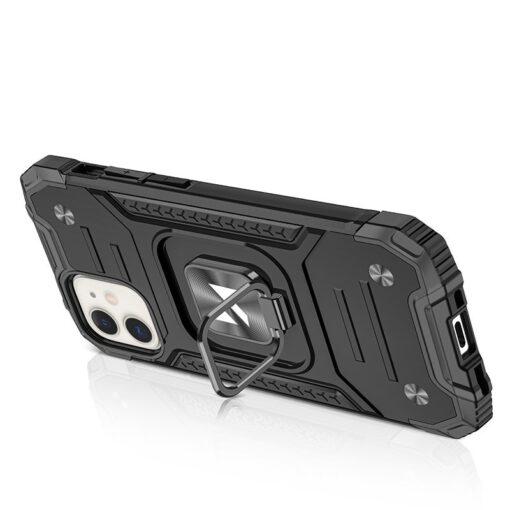 iPhone 12 mini tugev umbris Ring Armor plastikust taguse ja silikoonist nurkadega must 3
