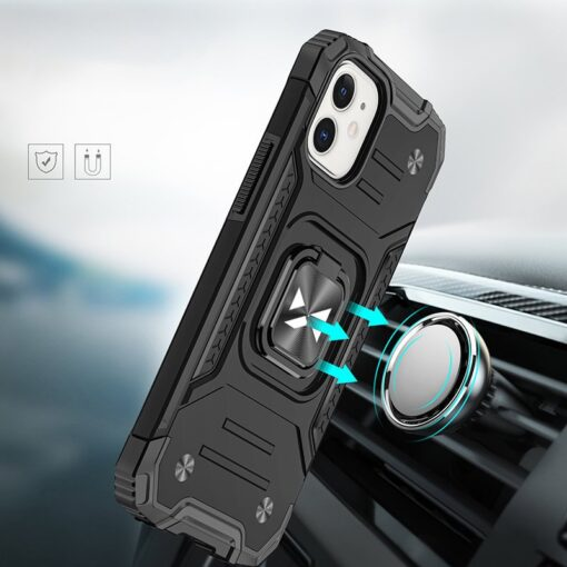 iPhone 12 mini tugev umbris Ring Armor plastikust taguse ja silikoonist nurkadega must 5