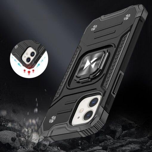 iPhone 12 mini tugev umbris Ring Armor plastikust taguse ja silikoonist nurkadega must 6