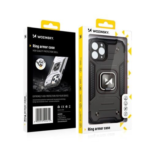 iPhone 12 mini tugev umbris Ring Armor plastikust taguse ja silikoonist nurkadega must 7