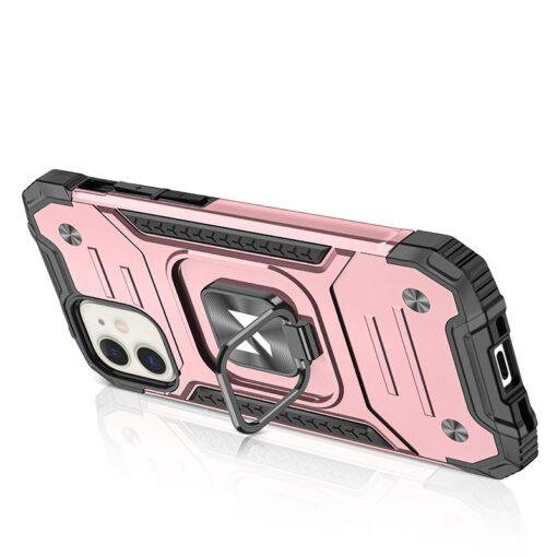 iPhone 12 mini tugev umbris Ring Armor plastikust taguse ja silikoonist nurkadega roosa 2