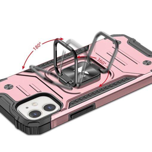 iPhone 12 mini tugev umbris Ring Armor plastikust taguse ja silikoonist nurkadega roosa 4