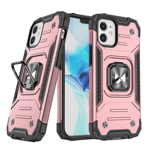 iPhone 12 mini tugev umbris Ring Armor plastikust taguse ja silikoonist nurkadega roosa