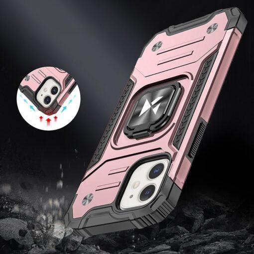 iPhone 12 mini tugev umbris Ring Armor plastikust taguse ja silikoonist nurkadega roosa 6