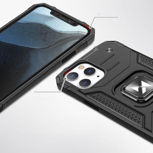 iPhone 1212 Pro tugev umbris Ring Armor plastikust taguse ja silikoonist nurkadega punane 1