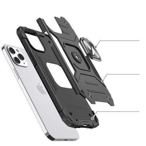 iPhone 1212 Pro tugev umbris Ring Armor plastikust taguse ja silikoonist nurkadega punane 2