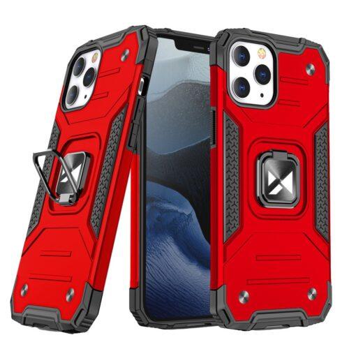 iPhone 1212 Pro tugev umbris Ring Armor plastikust taguse ja silikoonist nurkadega punane