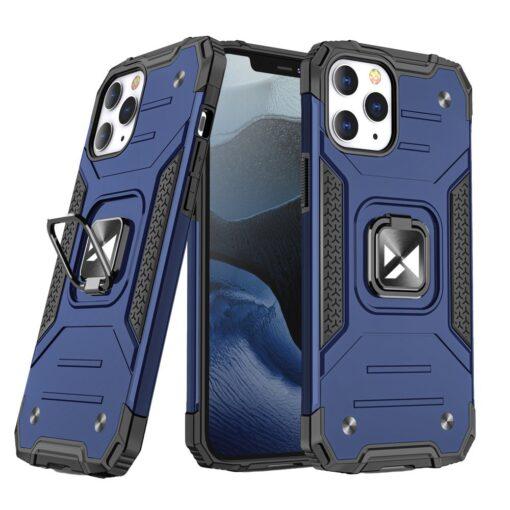 iPhone 1212 Pro tugev umbris Ring Armor plastikust taguse ja silikoonist nurkadega sinine