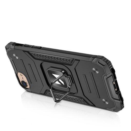 iPhone SE202087 tugev umbris Ring Armor plastikust taguse ja silikoonist nurkadega must 2