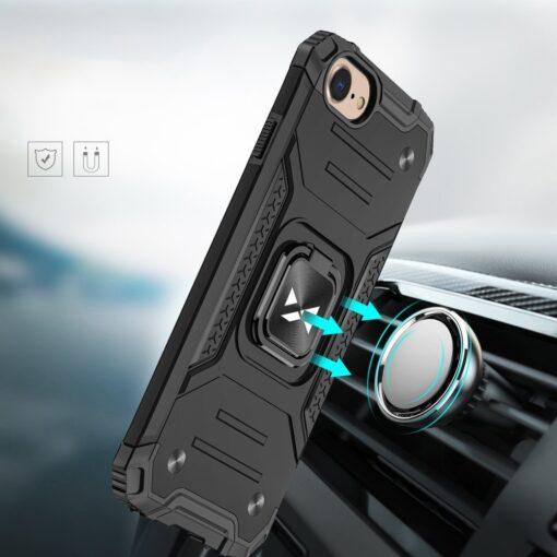 iPhone SE202087 tugev umbris Ring Armor plastikust taguse ja silikoonist nurkadega must 3