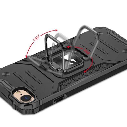 iPhone SE202087 tugev umbris Ring Armor plastikust taguse ja silikoonist nurkadega must 4