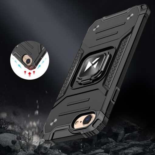 iPhone SE202087 tugev umbris Ring Armor plastikust taguse ja silikoonist nurkadega must 5