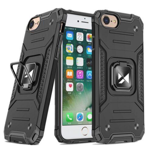 iPhone SE202087 tugev umbris Ring Armor plastikust taguse ja silikoonist nurkadega must