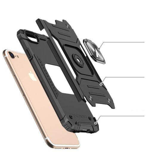 iPhone SE202087 tugev umbris Ring Armor plastikust taguse ja silikoonist nurkadega punane 2