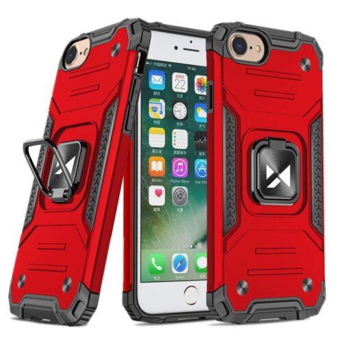 iPhone SE202087 tugev umbris Ring Armor plastikust taguse ja silikoonist nurkadega punane