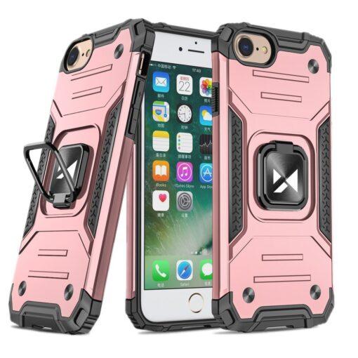 iPhone SE202087 tugev umbris Ring Armor plastikust taguse ja silikoonist nurkadega roosa