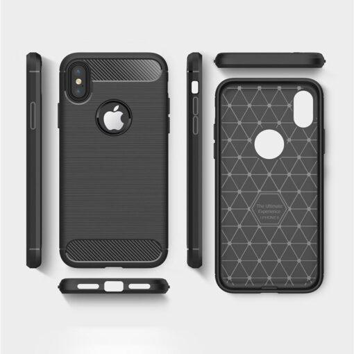 iPhone X XS umbris silikoonist Carbon must 8