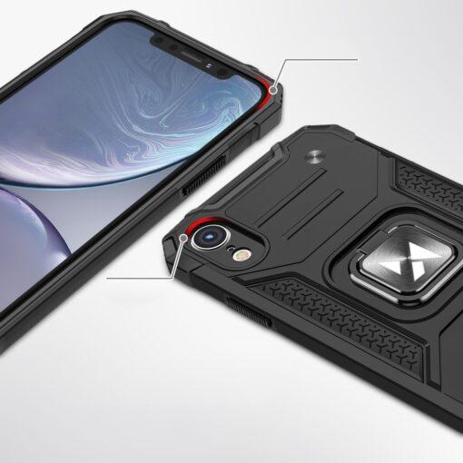 iPhone XR tugev umbris Ring Armor plastikust taguse ja silikoonist nurkadega roosa 1