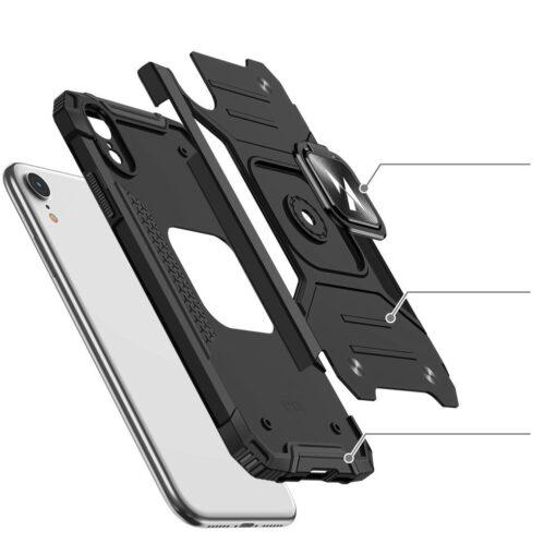 iPhone XR tugev umbris Ring Armor plastikust taguse ja silikoonist nurkadega roosa 2