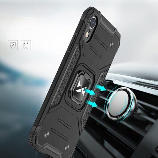 iPhone XR tugev umbris Ring Armor plastikust taguse ja silikoonist nurkadega roosa 5