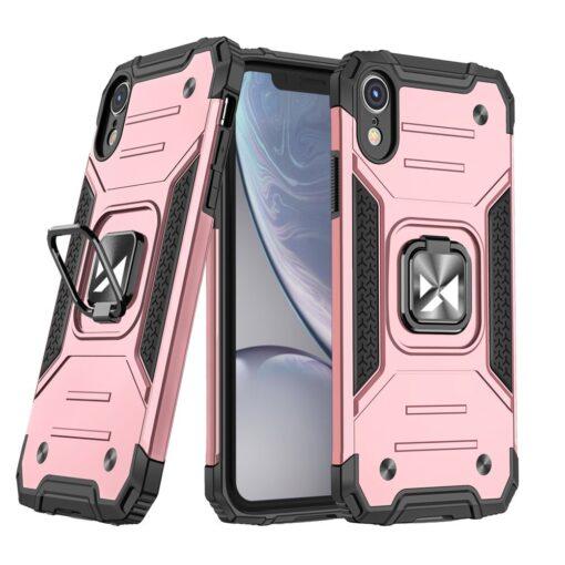 iPhone XR tugev umbris Ring Armor plastikust taguse ja silikoonist nurkadega roosa