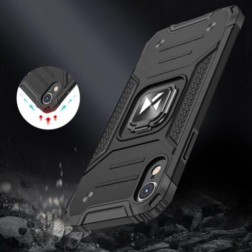 iPhone XR tugev umbris Ring Armor plastikust taguse ja silikoonist nurkadega roosa 6