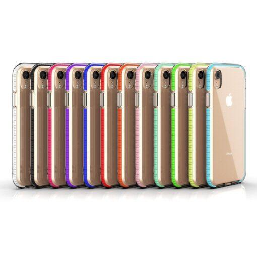 iPhone XR umbris silikoonist varvilise raamiga roosa 3