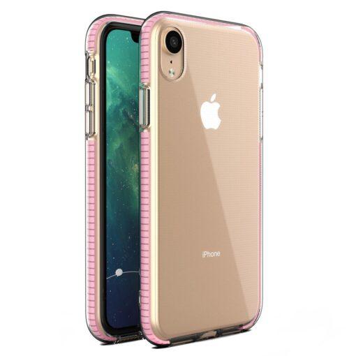 iPhone XR umbris silikoonist varvilise raamiga roosa