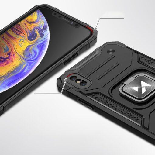 iPhone XS Max tugev umbris Ring Armor plastikust taguse ja silikoonist nurkadega must 1