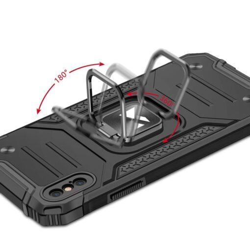 iPhone XS Max tugev umbris Ring Armor plastikust taguse ja silikoonist nurkadega must 4