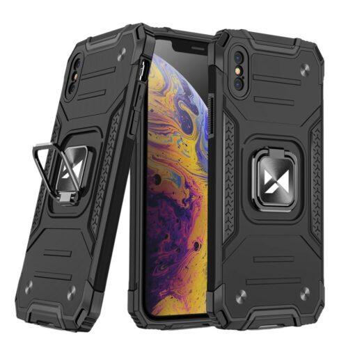 iPhone XS Max tugev umbris Ring Armor plastikust taguse ja silikoonist nurkadega must